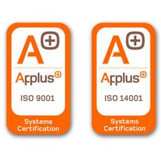 Certificados por Applus en ISO9001 e ISO14001